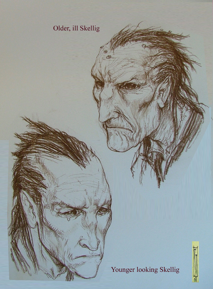 Skellig early faces.